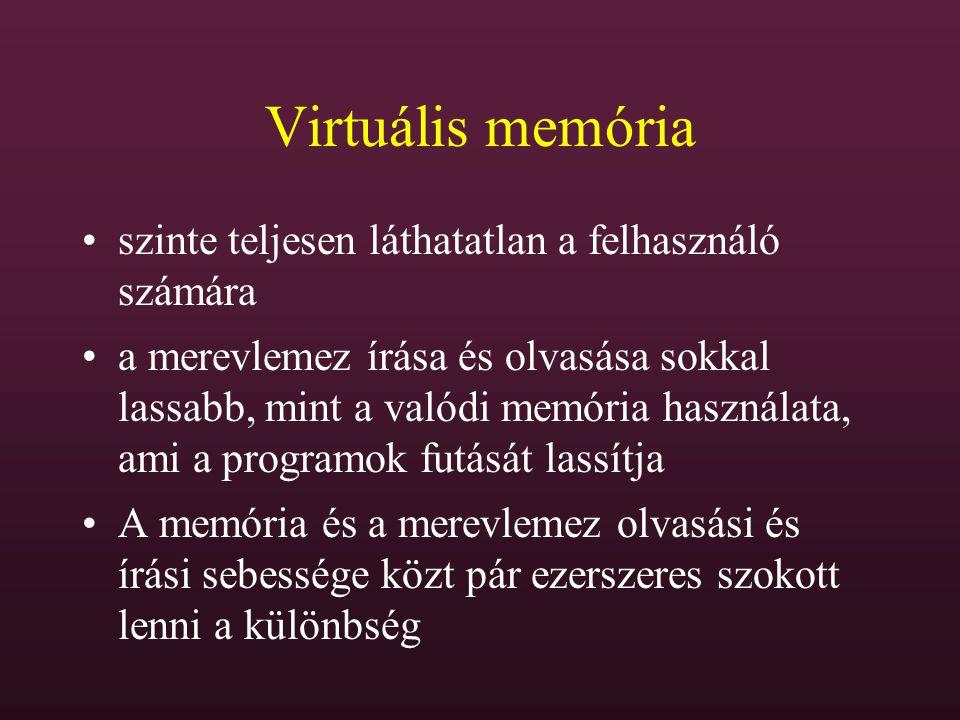 Virtuális memória szinte teljesen láthatatlan a felhasználó számára