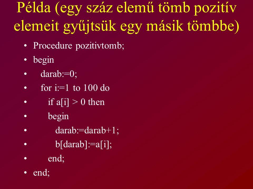Példa (egy száz elemű tömb pozitív elemeit gyűjtsük egy másik tömbbe)