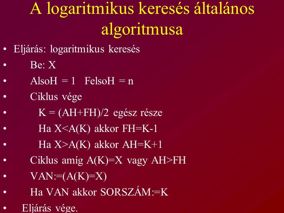 A logaritmikus keresés általános algoritmusa