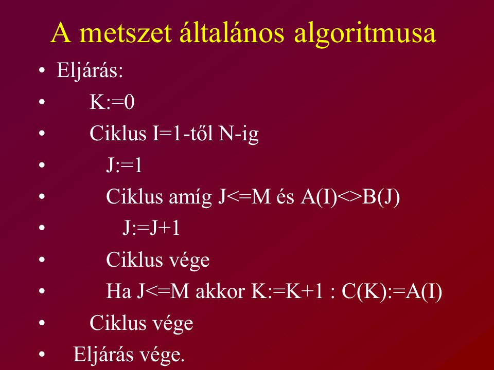 A metszet általános algoritmusa