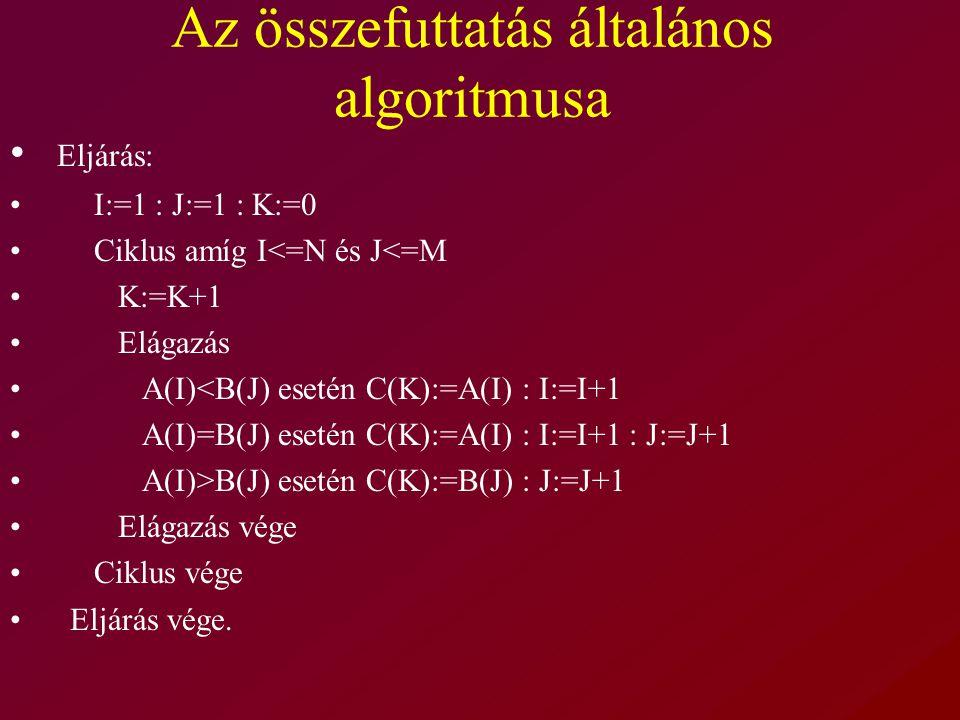 Az összefuttatás általános algoritmusa