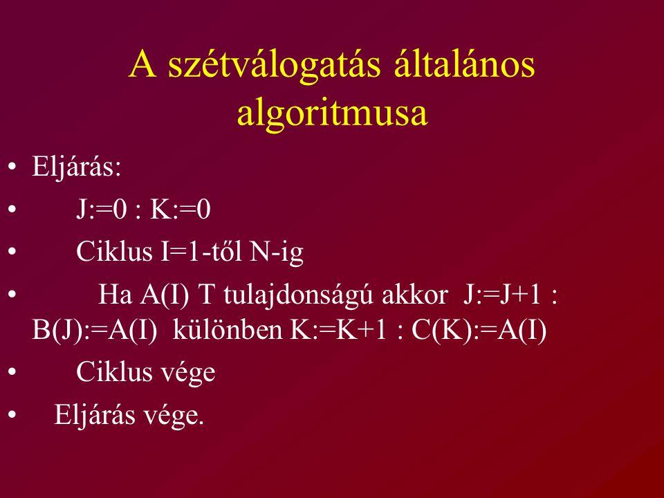 A szétválogatás általános algoritmusa
