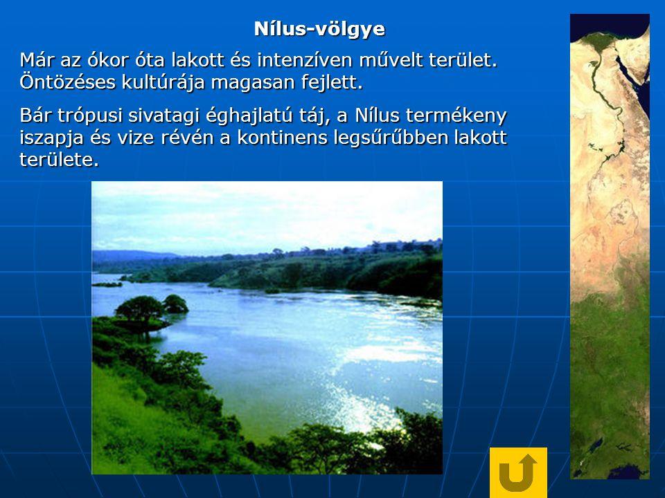 Nílus-völgye Már az ókor óta lakott és intenzíven művelt terület. Öntözéses kultúrája magasan fejlett.