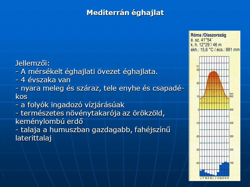 Mediterrán éghajlat Jellemzői: - A mérsékelt éghajlati övezet éghajlata. - 4 évszaka van. nyara meleg és száraz, tele enyhe és csapadé-kos.