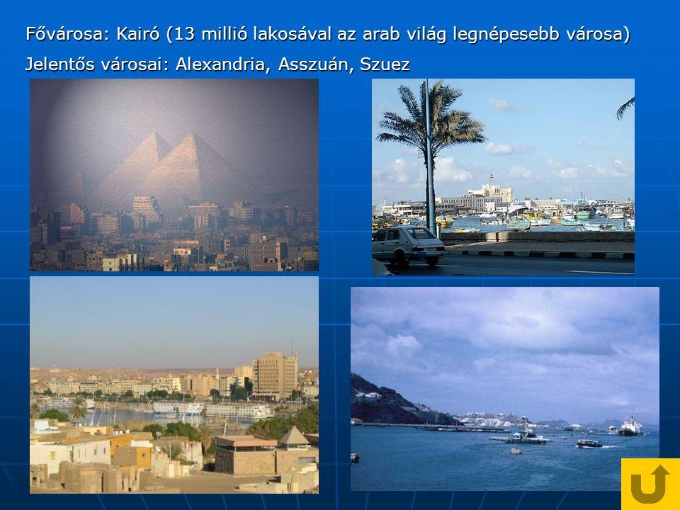 Fővárosa: Kairó (13 millió lakosával az arab világ legnépesebb városa)