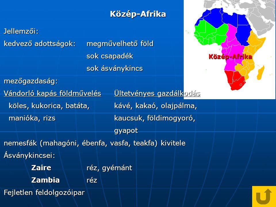Közép-Afrika Jellemzői: kedvező adottságok: megművelhető föld
