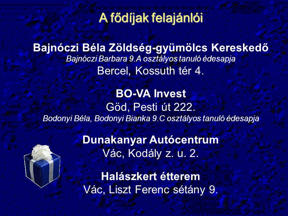 A fődíjak felajánlói Bajnóczi Béla Zöldség-gyümölcs Kereskedő Bajnóczi Barbara 9.A osztályos tanuló édesapja.