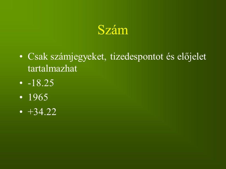Szám Csak számjegyeket, tizedespontot és előjelet tartalmazhat -18.25