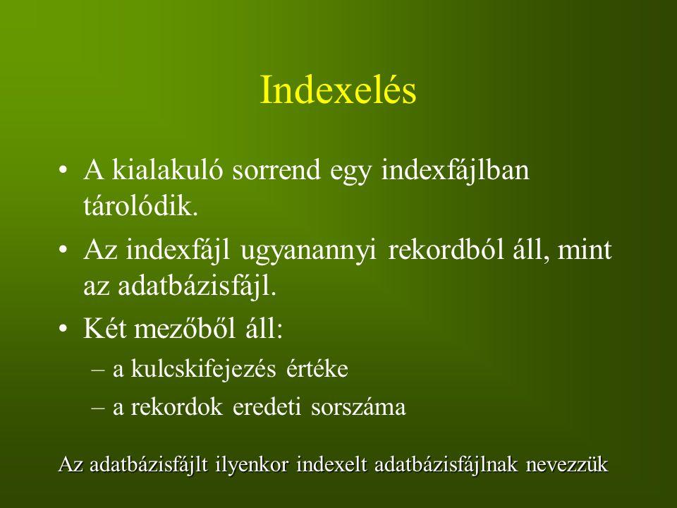 Indexelés A kialakuló sorrend egy indexfájlban tárolódik.