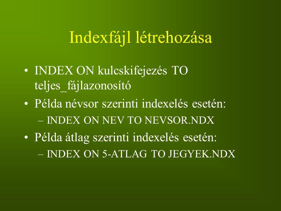 Indexfájl létrehozása