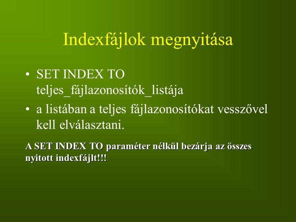 Indexfájlok megnyitása
