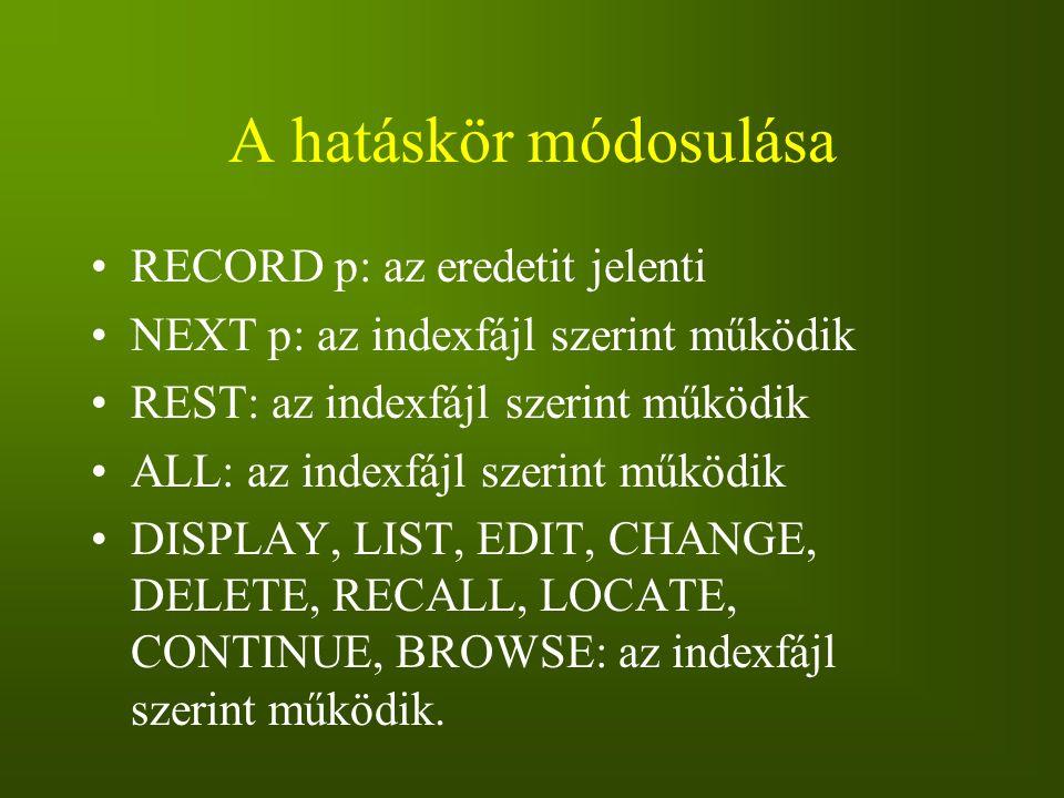 A hatáskör módosulása RECORD p: az eredetit jelenti