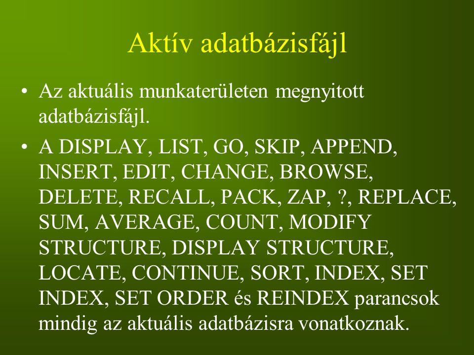 Aktív adatbázisfájl Az aktuális munkaterületen megnyitott adatbázisfájl.