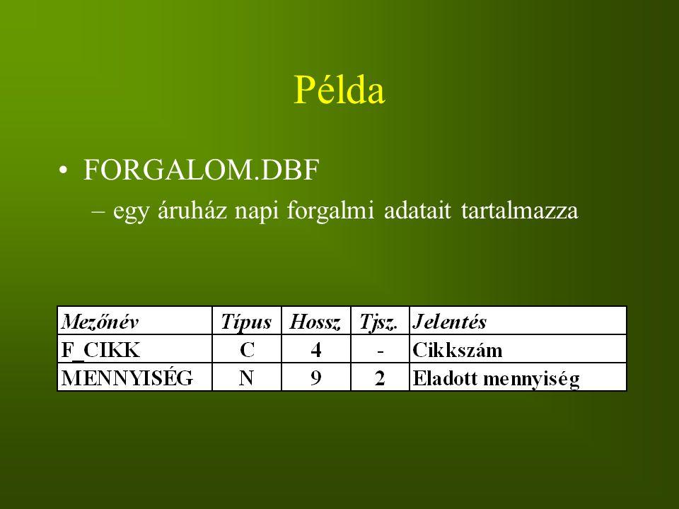Példa FORGALOM.DBF egy áruház napi forgalmi adatait tartalmazza