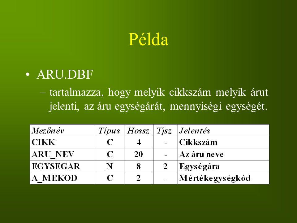 Példa ARU.DBF.