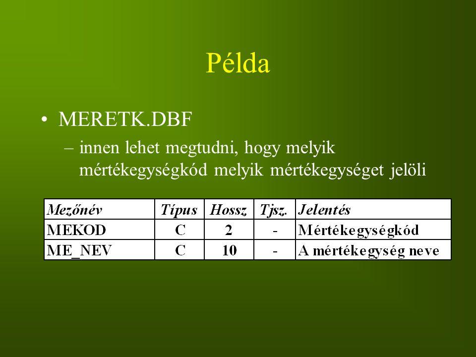 Példa MERETK.DBF innen lehet megtudni, hogy melyik mértékegységkód melyik mértékegységet jelöli