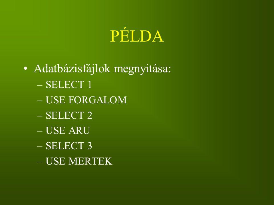 PÉLDA Adatbázisfájlok megnyitása: SELECT 1 USE FORGALOM SELECT 2
