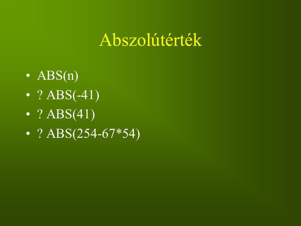 Abszolútérték ABS(n) ABS(-41) ABS(41) ABS(254-67*54)