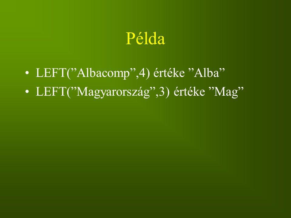 Példa LEFT( Albacomp ,4) értéke Alba