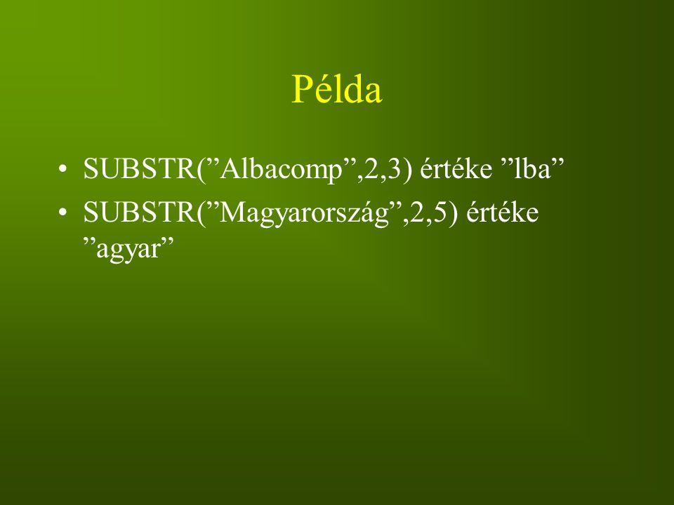 Példa SUBSTR( Albacomp ,2,3) értéke lba