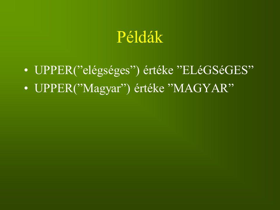 Példák UPPER( elégséges ) értéke ELéGSéGES