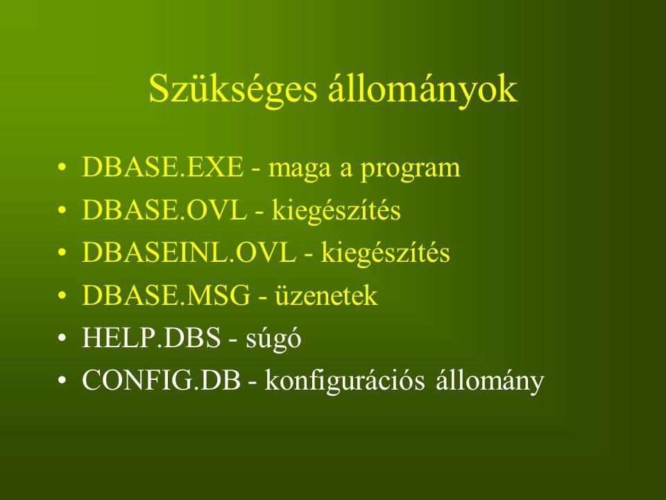 Szükséges állományok DBASE.EXE - maga a program