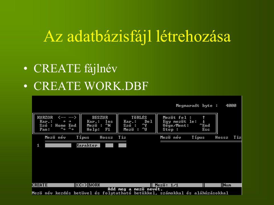 Az adatbázisfájl létrehozása