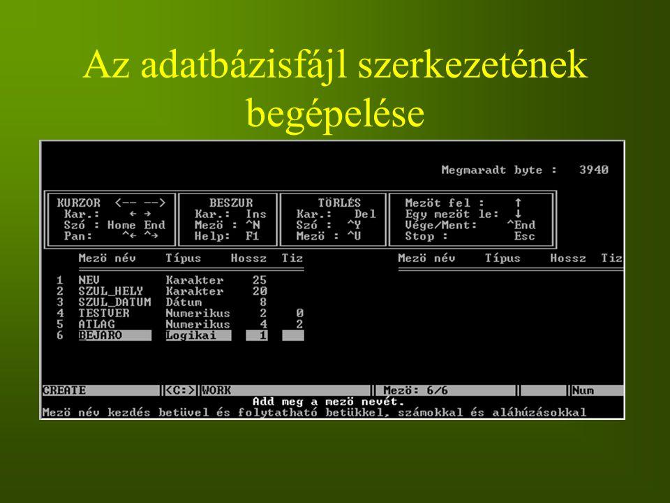 Az adatbázisfájl szerkezetének begépelése