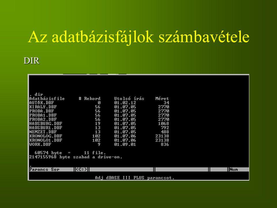 Az adatbázisfájlok számbavétele
