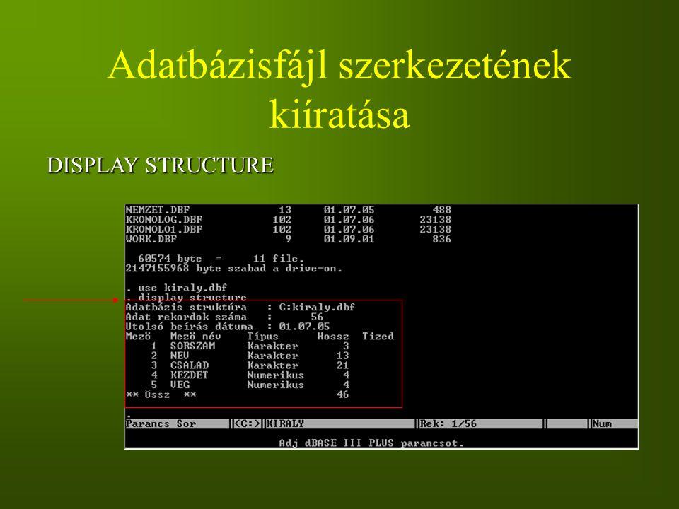 Adatbázisfájl szerkezetének kiíratása