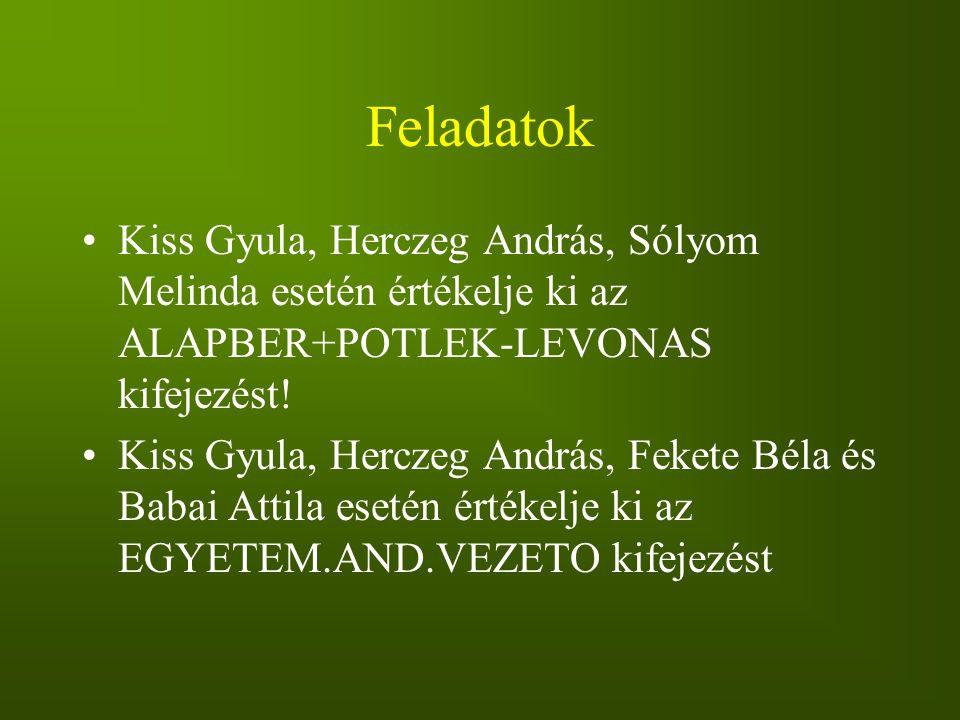Feladatok Kiss Gyula, Herczeg András, Sólyom Melinda esetén értékelje ki az ALAPBER+POTLEK-LEVONAS kifejezést!