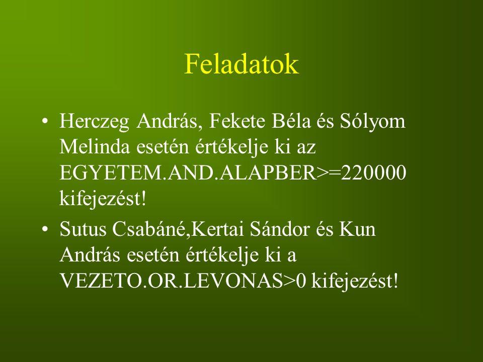 Feladatok Herczeg András, Fekete Béla és Sólyom Melinda esetén értékelje ki az EGYETEM.AND.ALAPBER>=220000 kifejezést!