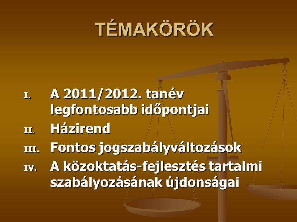 TÉMAKÖRÖK A 2011/2012. tanév legfontosabb időpontjai Házirend