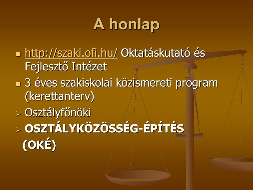 A honlap http://szaki.ofi.hu/ Oktatáskutató és Fejlesztő Intézet