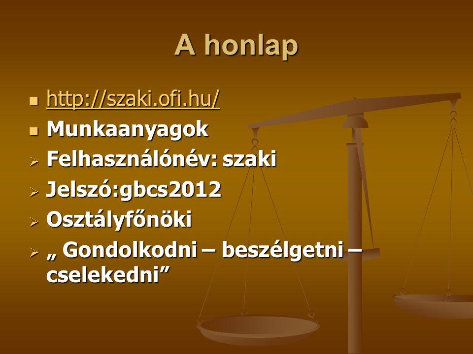 A honlap http://szaki.ofi.hu/ Munkaanyagok Felhasználónév: szaki