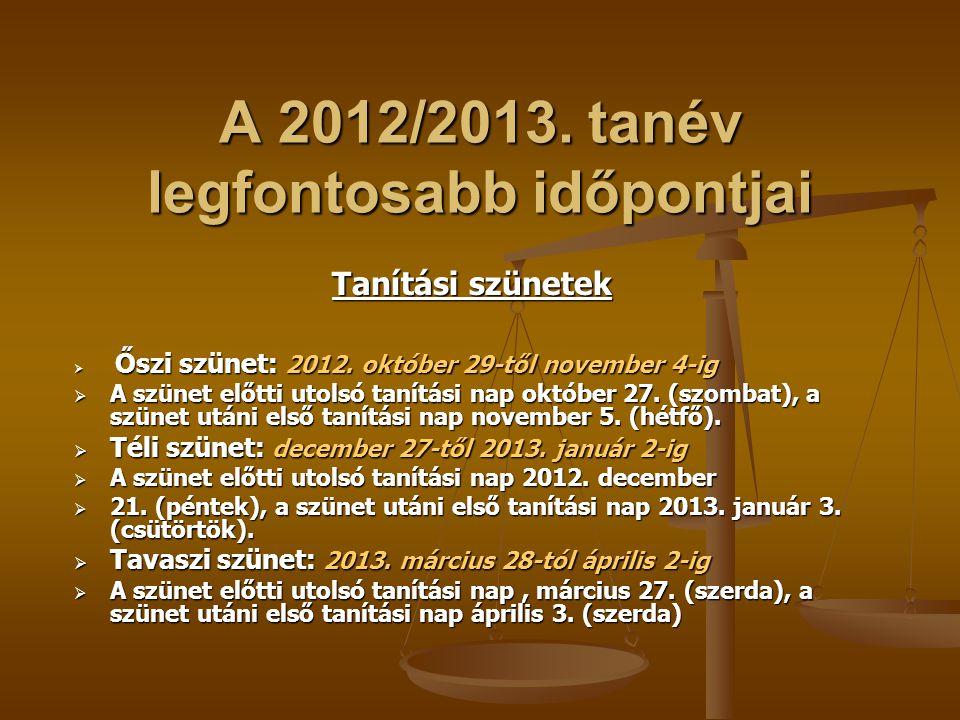 A 2012/2013. tanév legfontosabb időpontjai
