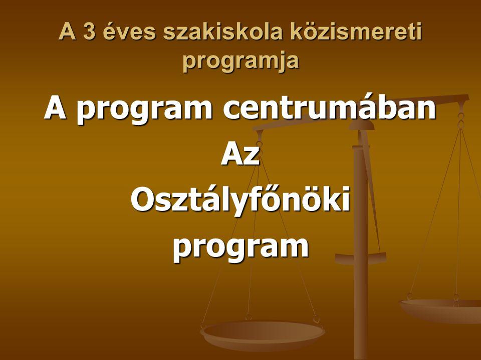 A 3 éves szakiskola közismereti programja