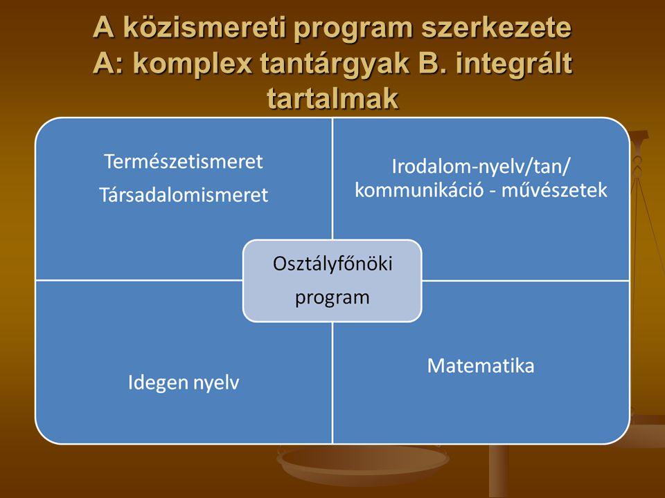A közismereti program szerkezete A: komplex tantárgyak B