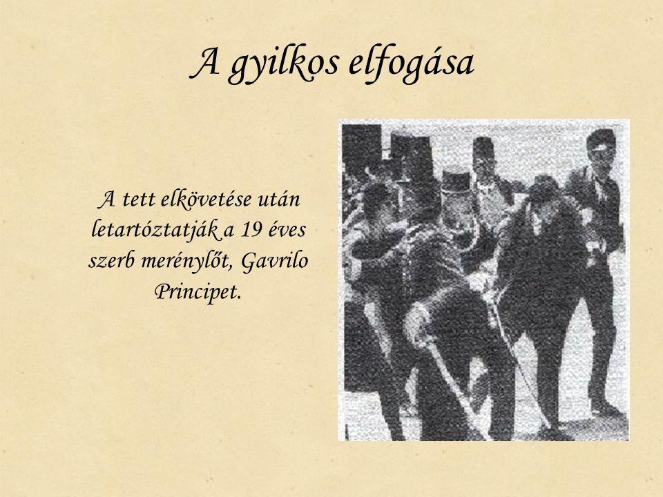 A gyilkos elfogása A tett elkövetése után letartóztatják a 19 éves szerb merénylőt, Gavrilo Principet.