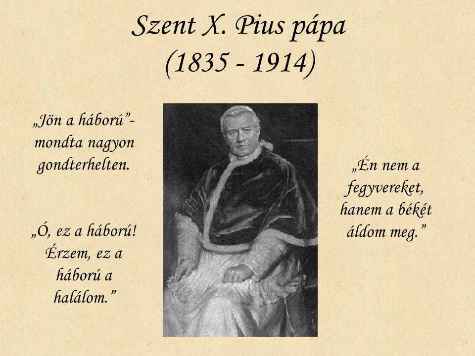 """Szent X. Pius pápa (1835 - 1914) """"Jön a háború - mondta nagyon gondterhelten. """"Ó, ez a háború! Érzem, ez a háború a halálom."""