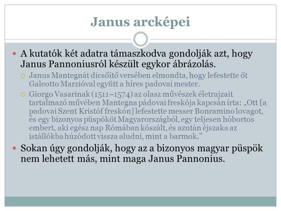 Janus arcképei A kutatók két adatra támaszkodva gondolják azt, hogy Janus Pannoniusról készült egykor ábrázolás.