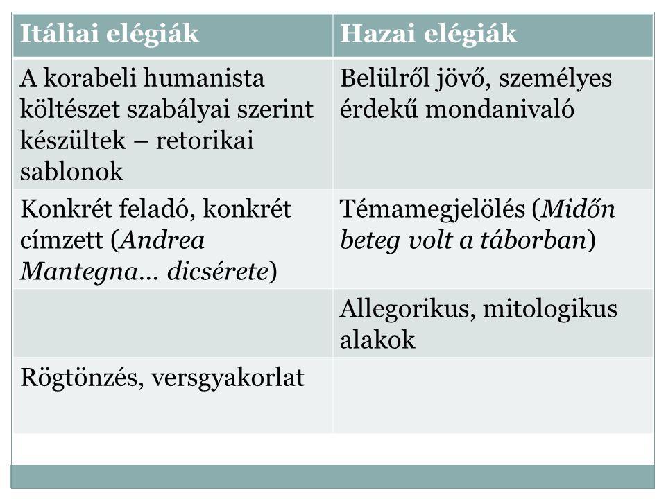 Itáliai elégiák Hazai elégiák. A korabeli humanista költészet szabályai szerint készültek – retorikai sablonok.