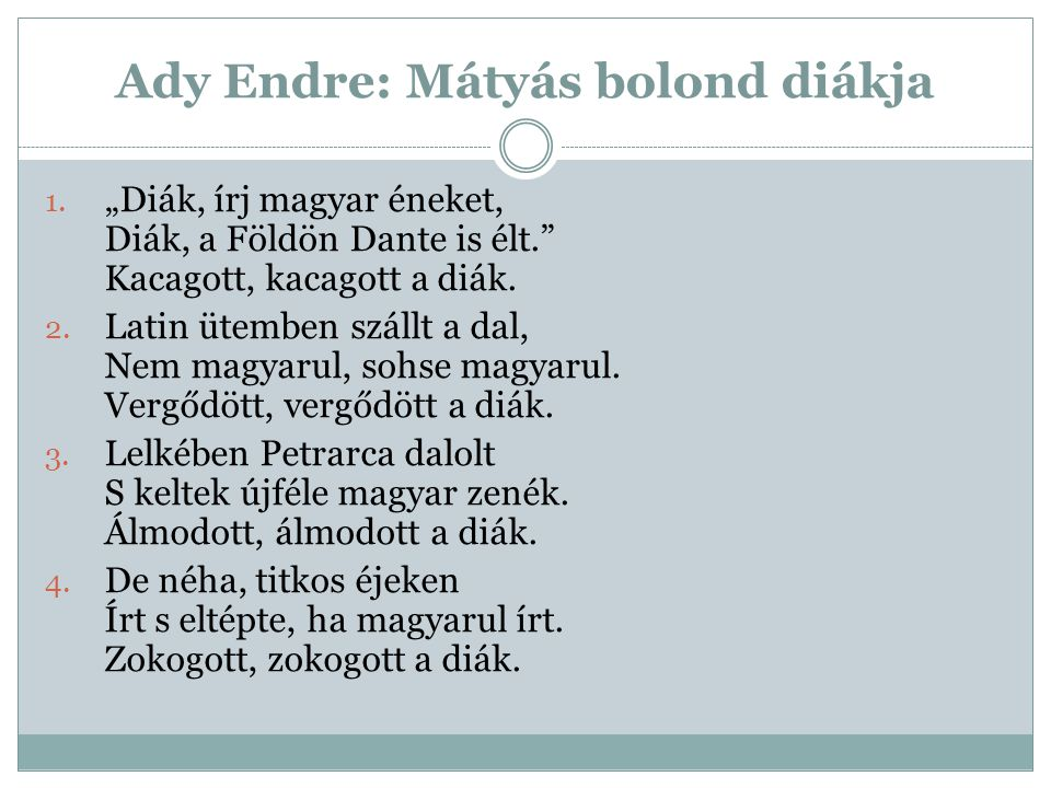 Ady Endre: Mátyás bolond diákja