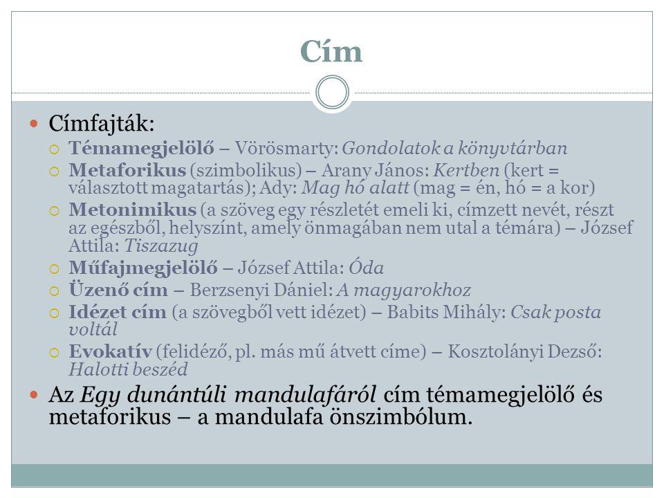 Cím Címfajták: Témamegjelölő – Vörösmarty: Gondolatok a könyvtárban.