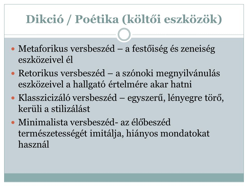 Dikció / Poétika (költői eszközök)