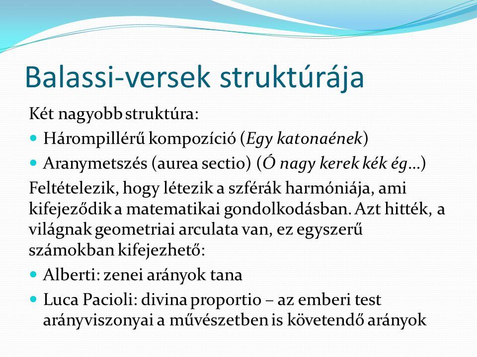 Balassi-versek struktúrája