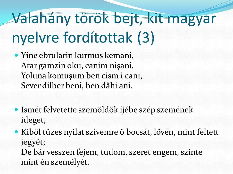 Valahány török bejt, kit magyar nyelvre fordítottak (3)