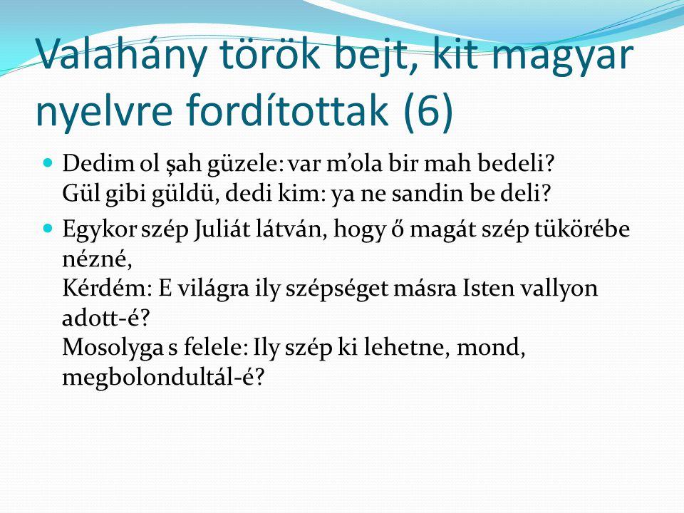 Valahány török bejt, kit magyar nyelvre fordítottak (6)