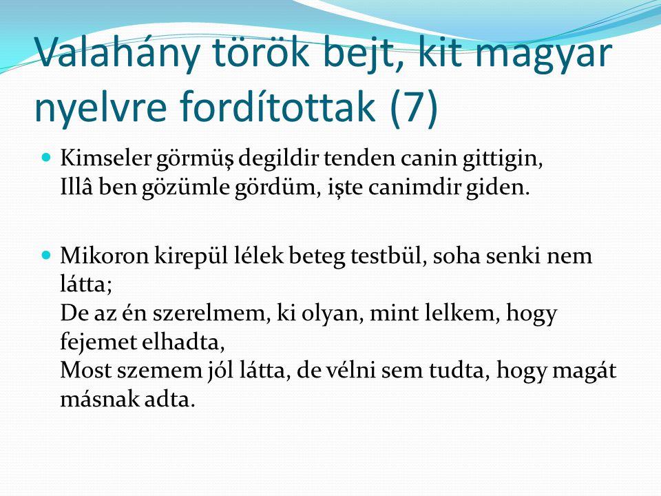 Valahány török bejt, kit magyar nyelvre fordítottak (7)