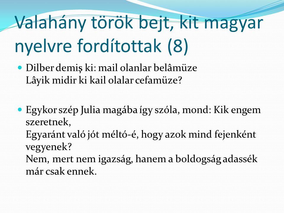 Valahány török bejt, kit magyar nyelvre fordítottak (8)